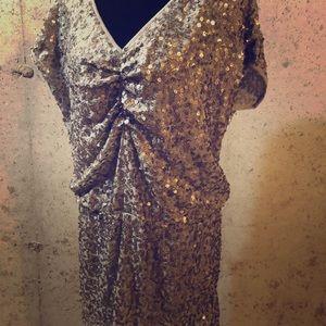 Anthropologie Ludi taupe sequin drop waist dress